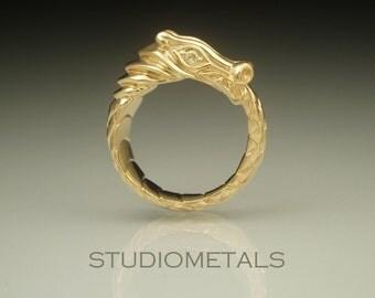 18K Dragon Wedding Ring, Gold Dragon Ring, Unique Engagement Ring, Ouroboros Ring, Unique Wedding Ring, Viking Ring, 18k Gold Ring, R503B