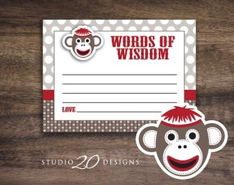 Instant Download Sock Monkey Baby Shower Advice Cards, Sock Monkey Words of Wisdom, Sock Monkey Advice Cards #30A