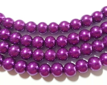 Electric Purple round glass pearls - 8mm