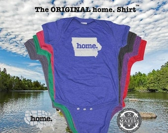 Iowa home Baby Bodysuit purple green pink denim blue green