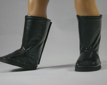 "Retro BOOTS in Shiny BLACK PATENT Faux ""Leather"" for American Girl or 18 "" Doll"