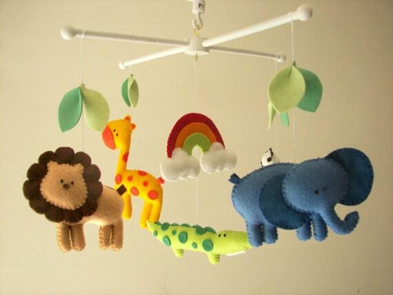 Baby Crib Mobile Safari Mobile Animal Mobile Felt Mobile