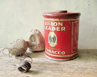 Knob Top Tobacco Tin Union Leader Eagle ~ Red Tin~ Tobaciana~ Antique Tins ~Vintage Home ~ 6 Inch Round Humidor  /0175