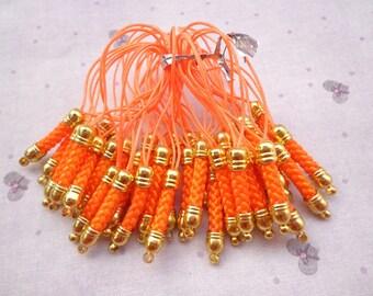 Cell Phone Strap Lanyard--100 pcs 70x5mm Orange Lariat Lanyard Mobile Cell Phone Strap Chains Connectors With Gold  Metal Top
