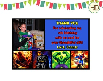 Superhero Thank You, Superhero Party, Marvel Superhero, Superhero Birthday Thank You