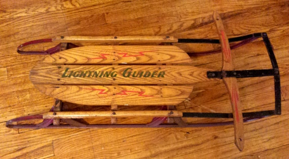 Vintage 1950s Lightning Guider Snow Sled