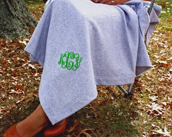 Stadium Sweatshirt Monogram Blanket Throw