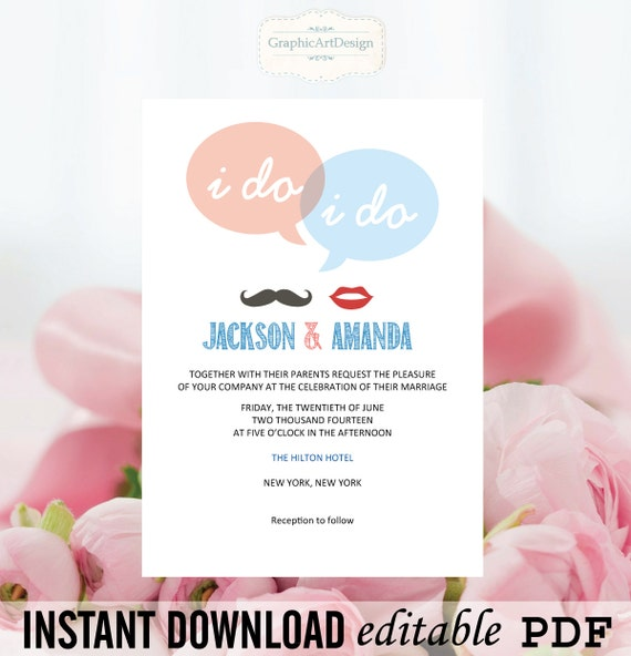 Wedding Invitation Template Speech Bubble By GraphicArtDesign