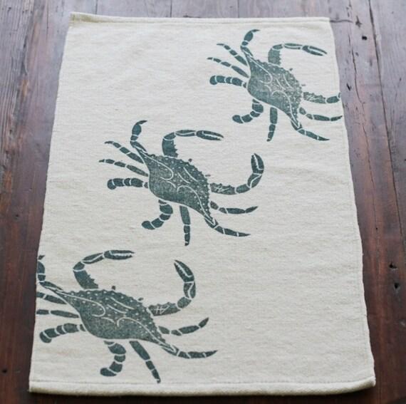 Bath Rug Bath Mat Crab Cotton Chenille Rug By Annehalldesigns