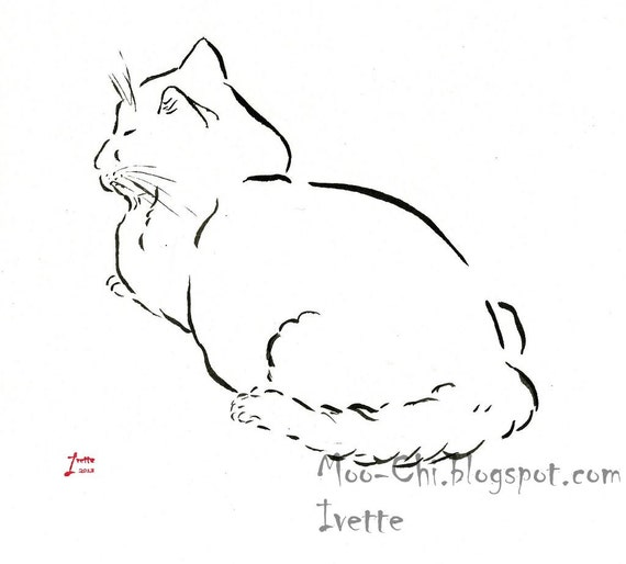 Original ink drawing of a peaceful cat in beautiful and minimal lines.