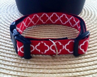 Small Dog Collar- Red Geometric