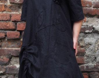 Over-sized Long Linen Tunic Midi Dress Plus Sizes Tunic Floral Motiv Tunic & Nara LT016