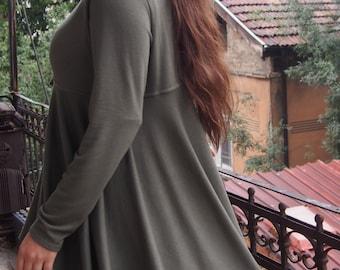 Knitted Blouse Over-sized Long Sleeve Wool Cotton Tunic Asymmetric Tunic & Nara TPL009