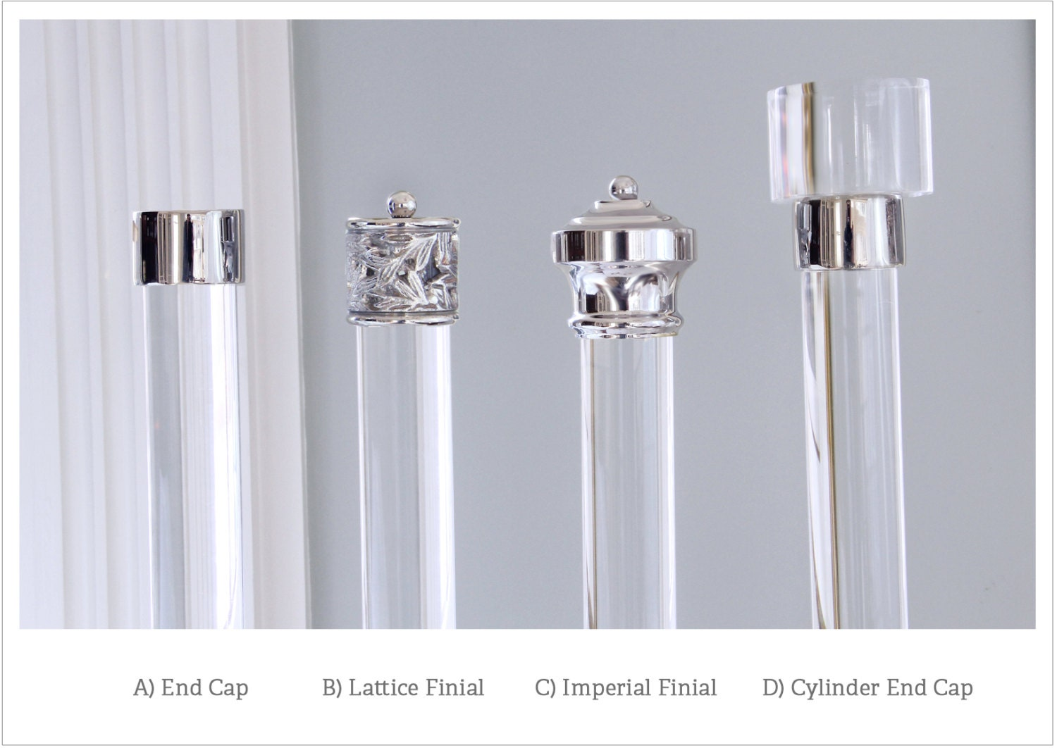Nickel Finials For Lucite Drapery Rod Individually Priced