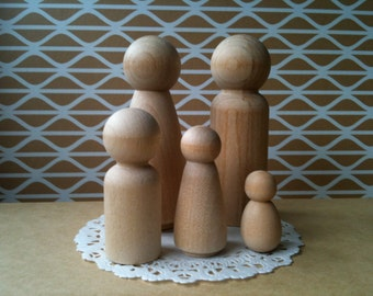 2 Sets of Family of Five (5) Wooden Peg Dolls, DIY Cake Toppers for Weddings or People for Doll House Unfinished Express Shipping Australia