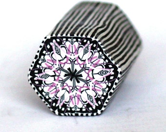Small Hexagon Polymer Clay Cane black, pink and white