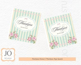 Vintage Shabby Chic Themed Favour Tags / Thankyou Tags / 60th Birthday
