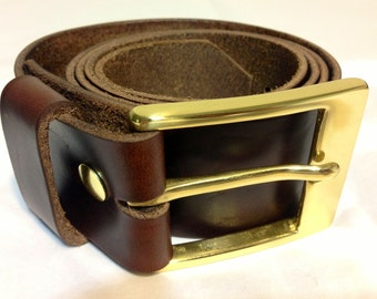 Handmade Brown Genuine Leather Belt - Horween Chromexcel Leather