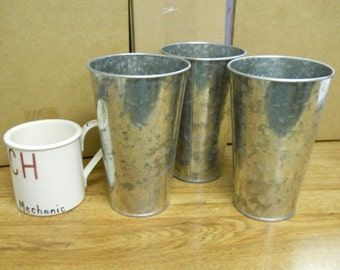 "3 Pc Galvanized Buckets French Style Taper 7"" tall"