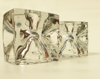 set of two rock crystal candleholders.