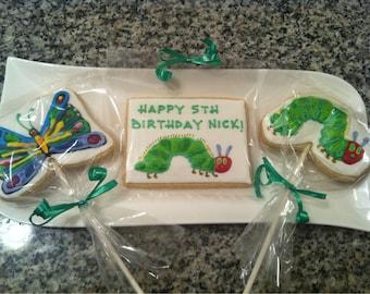 Hungry Caterpillar custom cookies - 1 Dozen