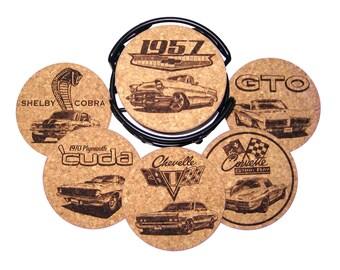 Muscle Car Cork Coaster Set