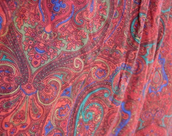 Red Vintage Flare Dance Pants, Gypsy, Hippy, Capri, Paisly, Psychedelic, XS, S, High Waist