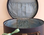 Vintage Small  Blue Round Suitcase/Luggage/Vanity Case/ Props. - LenaLovesVintage