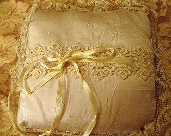 Sale - Sale -Antique Looking Bridal/Bed Pillow with Vintage Laces