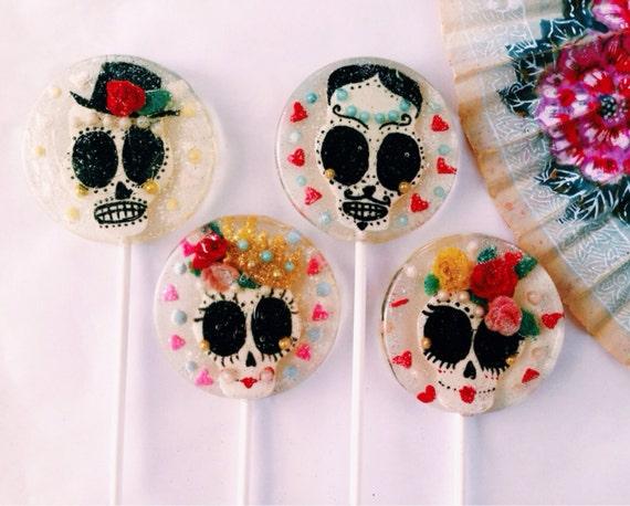 3 Horchata Flavored Handmade Mexican Wedding Favors Sugar Skull Lollipops