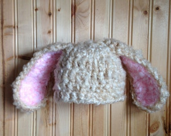 Crochet Tan and Light Pink Floppy Bunny Hat - READY TO SHIP