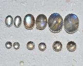Cabochon Labradorite or Spectrolite Stud Earrings In Sterling Silver - Choose a size!