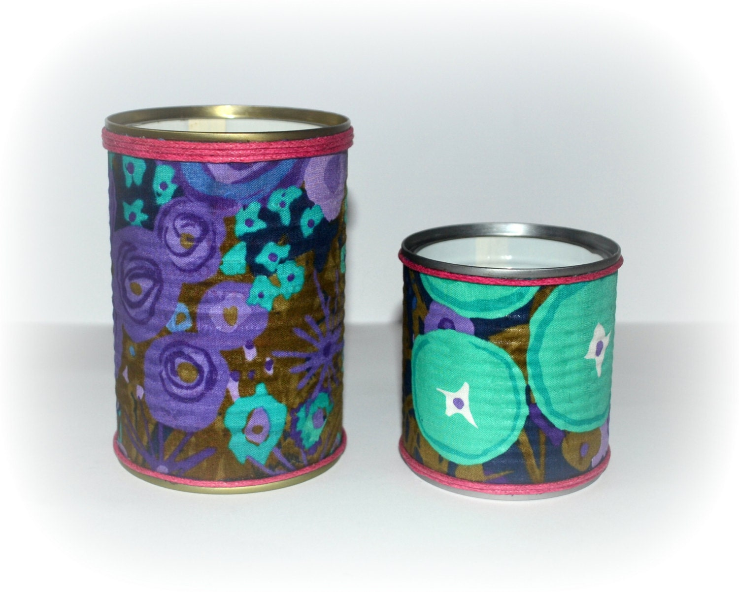 tin cans wrapped in fabric upcycled recycled by ohwellwhatever
