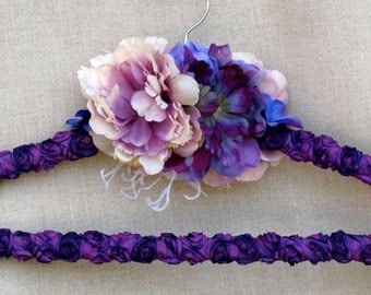 Wedding dress hanger, custom, personalized, purple, silk flowers, feathers, bridesmaid, mother of the bride