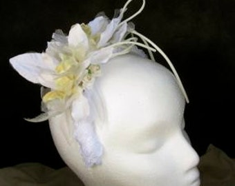 Wedding head piece, white, three handmade silk orchids, mini paper roses, bride, bridesmaid, mother of the bride, custom, personalized