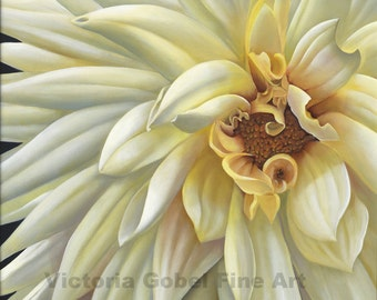 White Dahlia Original Art by Victoria Gobel - Giclee Print on Watercolor Paper - 20 x 20