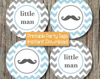 Mustache Baby Shower Little Man Party Cupcake Toppers Printable diy Cupcake Toppers Boy Powder Blue Grey Chevron 195