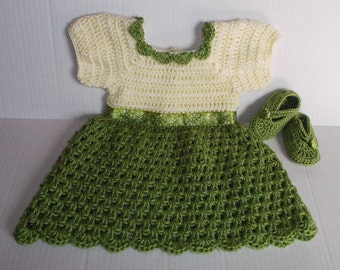 Baby Girl Crochet Dress & Shoes