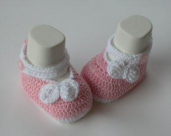 Crochet Baby Pink Shoes/Booties/Slippers/- PATTERN 234 /bow white/ -3 size /Instant Download( Permission to sell finished items)