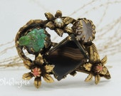 Vintage floral 1960-s brooch with turquoise, coral, quartz and pearl, unique