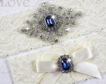 SALE - SAHARA - Sapphire Blue Wedding Garters, Ivory Stretch Lace Garter, Rhinestone Crystal Bridal Garter Set, Something Blue