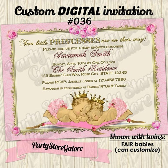 twins baby shower invitations twin girl girls vintage princess