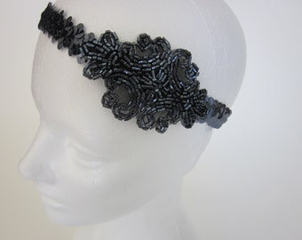 Sequined Headband, sequins headbands, silver, gold, black, bronze, champagne beaded headpiece on sequins sequin band