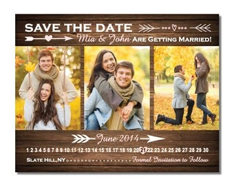 Country Wood 3 Photo Save The Date Magnet or Card DIY PRINTABLE Digital File or Print (extra)