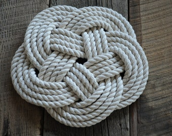 Cotton Rope Trivet - Nautical Decor - Rope Hot Pad - Cotton Rope - Nautical Gift