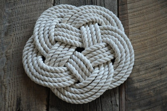 Items similar to cotton rope trivet nautical decor for Nautical rope decorating ideas