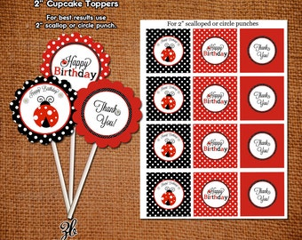 Ladybug Birthday Cupcake Toppers Lady Bug Red Black Polka Dot Pattern- Instant Download Digital File