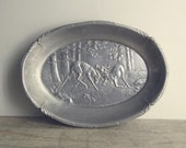 Antique Aluminum Bowl - Soviet vintage bread plate - butting deers - woodland - rustic cabin decor - made in USSR