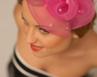 Fushia Fascinator - cocktail crin headpiece hat millinery for Ascot, Kentucky Derby, races, tea party