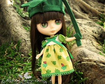 St.Patrick's day green shamrock clover dress leprechaun Outfit for Blythe